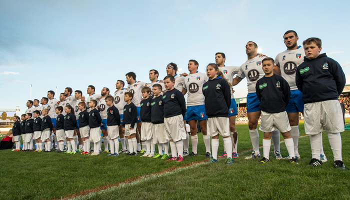 Italy line up before a game at the 2013 RLWC.