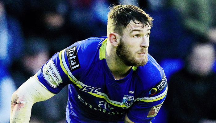 Daryl Clark playing for Warrington Wolves in the Super League.