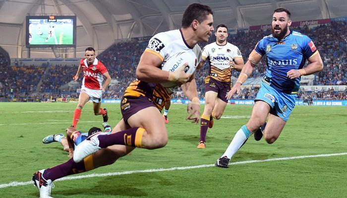 James Roberts scoring for Brisbane against former club Gold Coast during the 2016 NRL season.