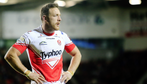 St Helens hooker James Roby looks on during a Super League game.