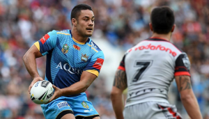 Jarryd Hayne playing for the Gold Coast Titans in the NRL.
