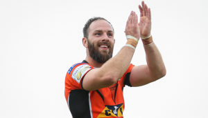 Luke Gale claps the Castleford Tigers supporters at the Mend-A-Hose Jungle.