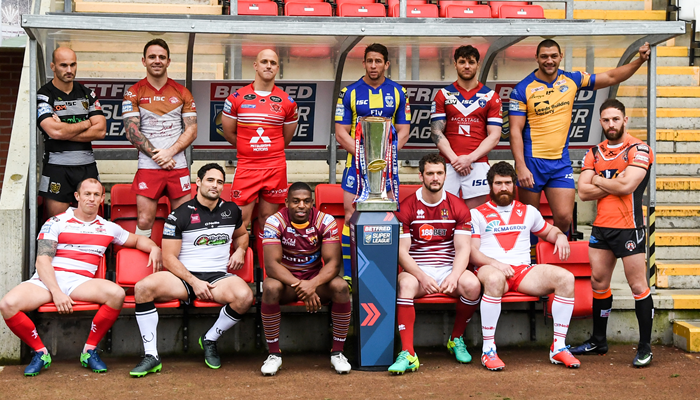 Players from all 12 Super League teams pose for a picture ahead of the 2017 season.